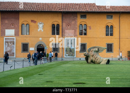 PISA, TUSCANY/ITALY  - APRIL 17 : Fallen Angel at the Square of Miracles in Pisa Tuscany Italy on April 17, 2019. Unidentified people - Stock Photo
