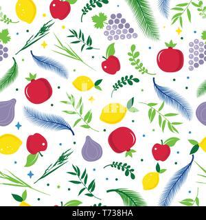 Rosh hashanah Jewish New Year pattern with traditional symbols apple, pomegranate. Rosh hashana, sukkot symbols. - Stock Photo