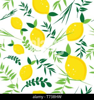 Happy Sukkot seamless pattern. Jewish holiday endless background. Repeating texture with plants. - Stock Photo