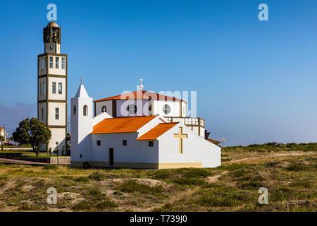 Church at Costa Nova a famous beach near Aveiro Centro Portugal. Church in the popular tourist resort of Costa Nova, Aveiro,  Portugal. - Stock Photo