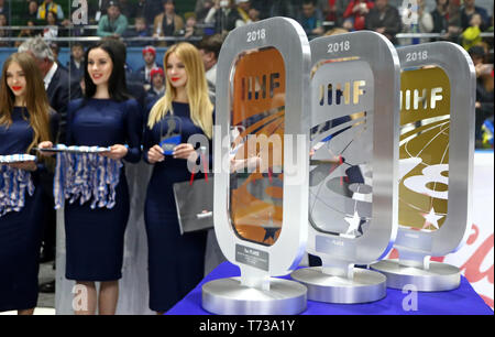 KYIV, UKRAINE - APRIL 20, 2018: Awards for tournament winners on the table seen during the award ceremony of the IIHF 2018 Ice Hockey U18 World Champi - Stock Photo