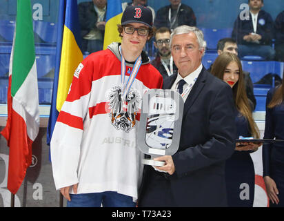 KYIV, UKRAINE - APRIL 20, 2018: Julian PAYR, captain of Austria team with silver award of the IIHF 2018 Ice Hockey U18 World Championship Div 1B at Pa - Stock Photo