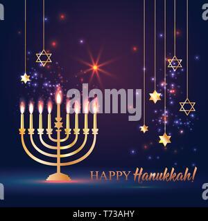 Happy Hanukkah Shining Background with Menorah, David Star and Bokeh Effect. - Stock Photo
