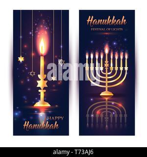 Happy Hanukkah Shining Background with Menorah, David Stars and Bokeh Effect. - Stock Photo