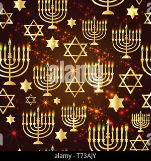 Happy Hanukkah Shining Background with Menorah, David Star and Bokeh Effect. Seamless pattern. - Stock Photo