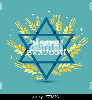 Happy Shavuot. Judaic holiday. Greeting card of Israel. Vector illustration with congratulation in a frame of wheat spikelets with blue star of David. - Stock Photo