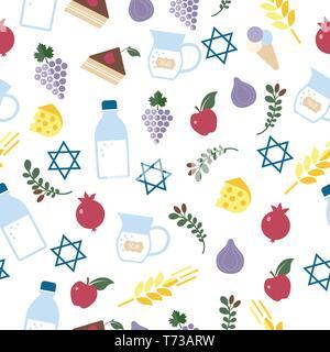 Shavuot celebration seamless pattern. Vector illustration of Israel. - Stock Photo