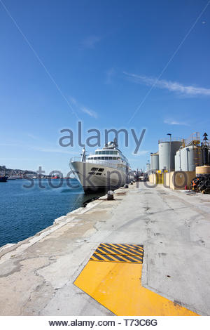 Gibraltar, United Kingdom- May, 15, 2017: A  large yacht docked on a bright sunny day. - Stock Photo