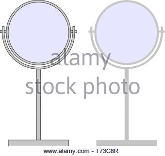 2D flat grey mirror with and without black outline - Vector - Stock Photo