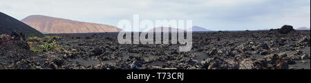 panorama picture of the volcanic landscape of Lanzarote around Timanfaya - Stock Photo
