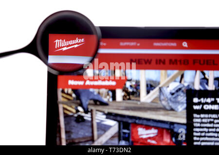 New York, USA - March 25, 2019: Illustrative Editorial of Website of Milwaukee logo visible on display screen. Milwaukee Electric Tool Corporation is - Stock Photo