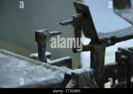 Old used vintage weights. Measurements retro equipment. - Stock Photo
