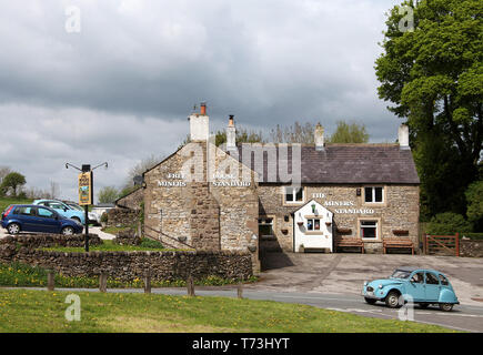 The historic Miners Standard public house at Winster in the Peak District National Park - Stock Photo