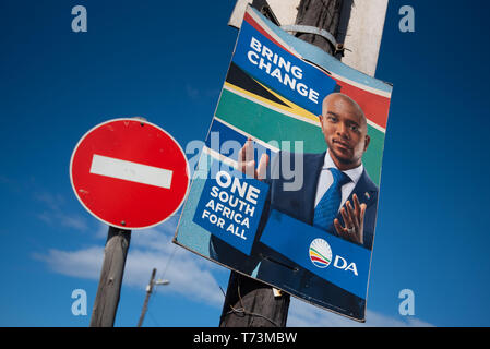 Durban, South Africa, April 16, 2019: A Democratic Alliance street election poster in Durban. The 2019 South African General Election will be held on  - Stock Photo