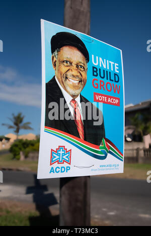 Durban, South Africa, April 16, 2019: An African Christian Democratic Party street election poster in Durban. The 2019 South African General Election  - Stock Photo