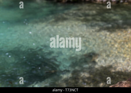 Abstract blurred turquoise water background with beautiful bokeh and shadows. - Stock Photo