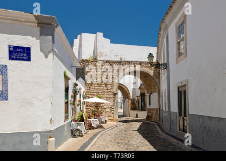 Faro, a street scene in the old town, the Algarve, Portugal - Stock Photo
