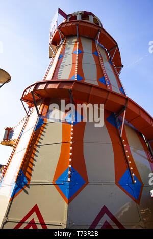 Traditional helter skelter fairground ride Anchor Square Bristol - Stock Photo