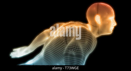 Human Body Digital Visualization Running Forward Art - Stock Photo