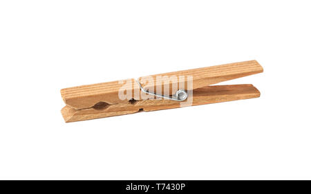 Old Wooden clothes pin isolated on white background - Stock Photo