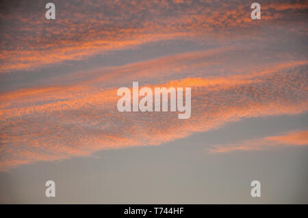 Colorful clouds and sky at sunset dusk forming an amazing landscape in a farmstead near Elvas. A gracious city on the easternmost frontier of Portugal - Stock Photo