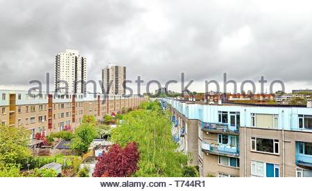 Panoramic view of De Esch neighbourhood of Rotterdam, Netherlands - Stock Photo