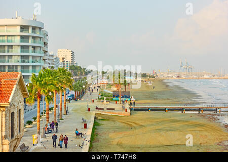 Larnaca, Cyprus - January 24, 2019: Seafront and promenade by Finikoudes beach in Larnaca - Stock Photo