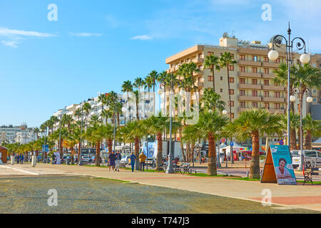 Larnaca, Cyprus - January 28, 2019: Sea-front and promenade in Larnaca - Stock Photo