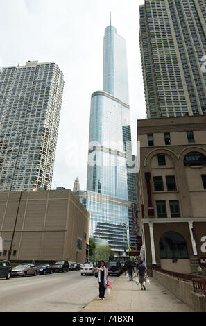Chicago, Illinois, USA - 2019: View of the Trump International Hotel and Tower from ground level. - Stock Photo