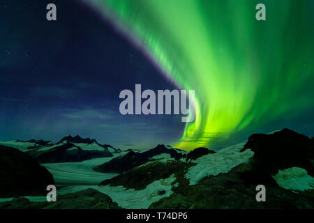 Northern Lights over Juneau Icefield, Tongass National Forest; Alaska, United States of America - Stock Photo