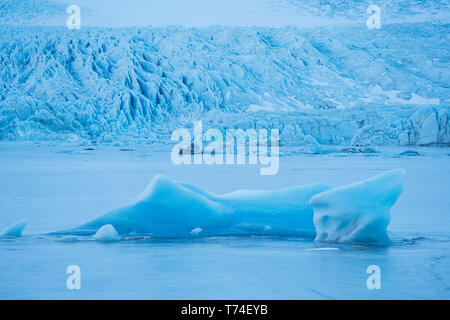 Glacier along the Southern shore of Iceland., icebergs are frozen into the lagoon at the base of it; Iceland - Stock Photo