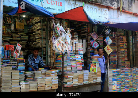Secondhand bookstall at Nilkhet Book MArket  Dhaka, Bangladesh Stock