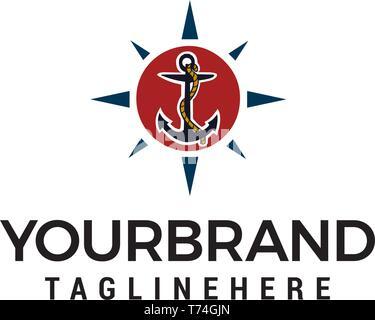 anchoring logo design concept template vector - Stock Photo