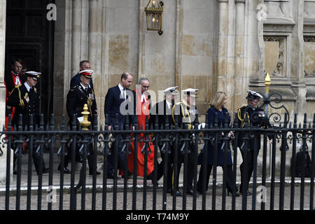 Prince William is seen leaving the commemoration service at