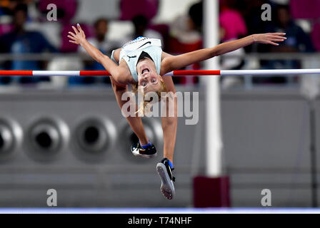 Doha, Qatar. 3rd May, 2019. Yaroslava Mahuchikh of Ukraine competes during the women's high jump final at 2019 IAAF Diamond League at Khalifa International Stadium in Doha, Qatar, May 3, 2019. Yaroslava Mahuchikh won the gold medal with 1.96 metres. Credit: Nikku/Xinhua/Alamy Live News - Stock Photo