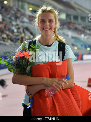 Doha, Qatar. 3rd May, 2019. Yaroslava Mahuchikh of Ukraine celebrates after the women's high jump final at 2019 IAAF Diamond League at Khalifa International Stadium in Doha, Qatar, May 3, 2019. Yaroslava Mahuchikh won the gold medal with 1.96 metres. Credit: Nikku/Xinhua/Alamy Live News - Stock Photo