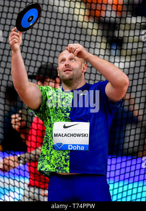 Doha, Qatar. 3rd May, 2019. Piotr Malachowski of Poland competes during the men's discus throw final at 2019 IAAF Diamond League at Khalifa International Stadium in Doha, Qatar, May 3, 2019. Credit: Nikku/Xinhua/Alamy Live News - Stock Photo
