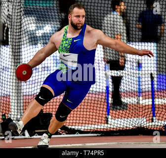 Doha, Qatar. 3rd May, 2019. Lukas Weisshaidinger of of Austria competes during the men's discus throw final at 2019 IAAF Diamond League at Khalifa International Stadium in Doha, Qatar, May 3, 2019. Credit: Nikku/Xinhua/Alamy Live News - Stock Photo