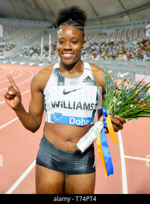 Doha, Qatar. 3rd May, 2019. Danielle Williams of Jamaica celebrates after the women's 100m hurdles final at 2019 IAAF Diamond League at Khalifa International Stadium in Doha, Qatar, May 3, 2019. Danielle Williams won the gold medal with 12.66 seconds. Credit: Nikku/Xinhua/Alamy Live News - Stock Photo