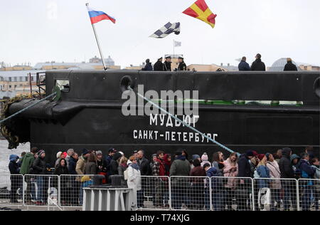 St Petersburg, Russia. 04th May, 2019. ST PETERSBURG, RUSSIA - MAY 4, 2019: The icebreaker Mudyug involved in a ceremony to open the 2019 Icebreaker Festival. Alexander Demianchuk/TASS Credit: ITAR-TASS News Agency/Alamy Live News - Stock Photo