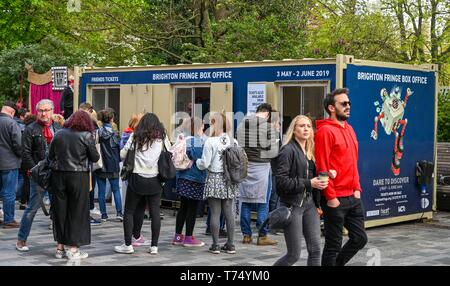 Brighton UK 4th May 2019 - Crowds buying tickets performing at the Brighton Festival Fringe 'Streets of Brighton' event in the city centre on the opening day. Credit: Simon Dack / Alamy Live News - Stock Photo