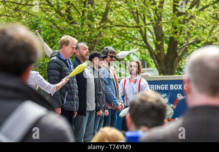 Brighton UK 4th May 2019 - Fit Up Productions performing  to crowds at the Brighton Festival Fringe 'Streets of Brighton' event in the city centre on the opening day. Credit: Simon Dack / Alamy Live News - Stock Photo