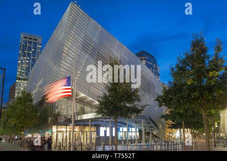 ENTRANCE PAVILION NATIONAL SEPTEMBER 11 MEMORIAL MUSEUM (©DAVIS BRODY BOND 2018 ) DOWNTOWN MANHATTAN NEW YORK CITY USA - Stock Photo
