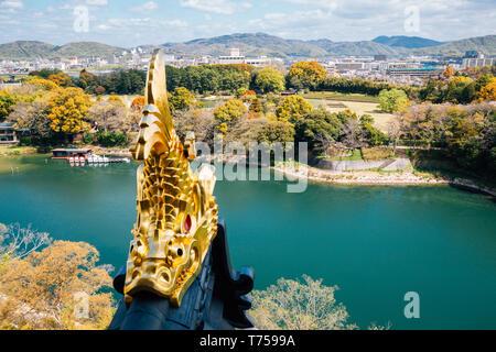 Korakuen garden and Asahi river from Okayama Castle in Japan - Stock Photo
