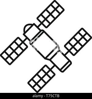 Space station solar panel icon. Outline space station solar panel vector icon for web design isolated on white background - Stock Photo