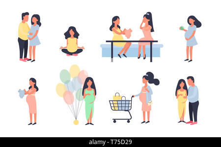 Pregnant woman. Pregnancy illustration set. Walking, healthy nutrition during pregnancy, purchase, baby shower and other situations. Character design. - Stock Photo