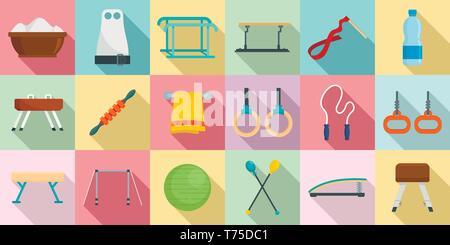 Gymnastics equipment icons set. Flat set of gymnastics equipment vector icons for web design - Stock Photo