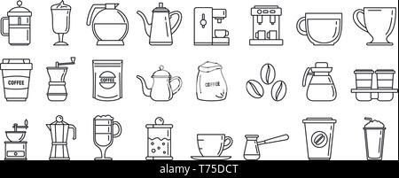 Barista coffee icons set. Outline set of barista coffee vector icons for web design isolated on white background - Stock Photo