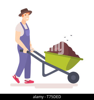 Man with wheelbarrow full of dirt or ground. Flies hover above the garden wheel barrow with manure. Gardener carries a wheelbarrow with organic fertil - Stock Photo
