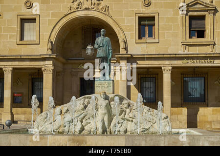 Monument to General Leopoldo Saro Marin in Plaza de Andalucia in Ubeda Spain. The statue has bullet holes from Spanish Civil War. - Stock Photo